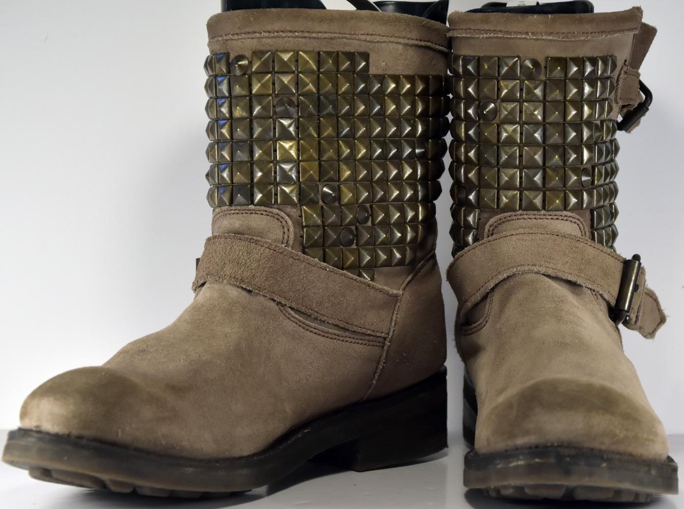 Détails sur X018 ASH BOTTINES MOTARD CLOUTEES T.39 UK 6 VALEUR 350 €